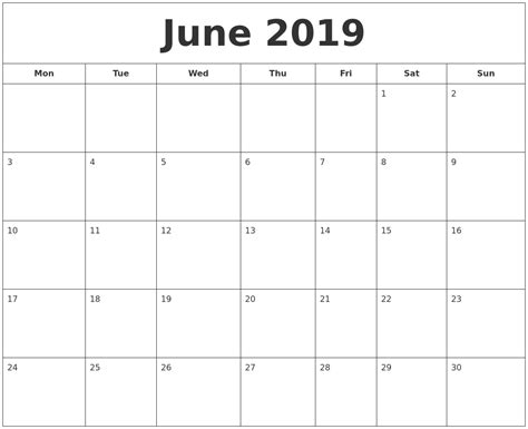 printable monthly calendar starting monday june 2019 printable calendar