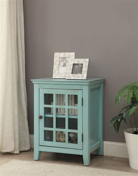 linon largo antique turquoise single door cabinet