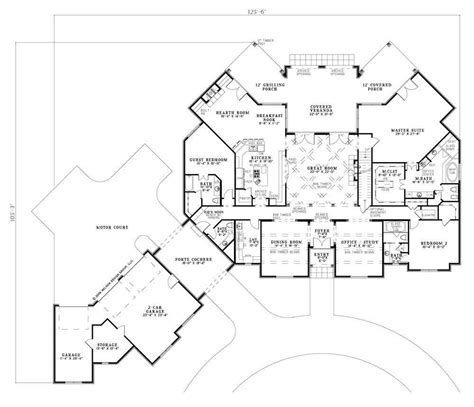floor plan story porte cochere and porches home