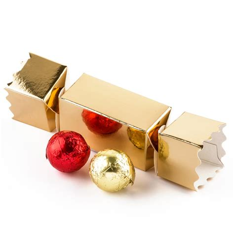 gold christmas cracker chocolate gift box 2 truffles