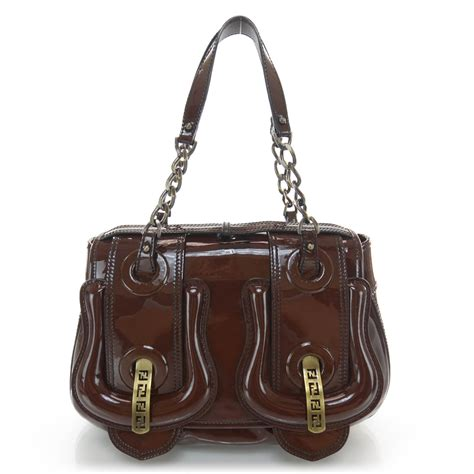 Fendi Vernice Matrix B Bag by Fendi Vernice Patent B Bag Marrone 37153