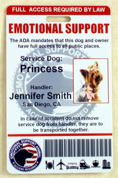 service animal card template emotional support service id card for service animal
