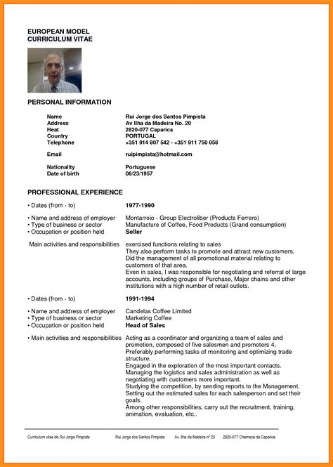 Modelo De Curriculum Vitae Word 6 Curriculum Vitae Em Word Resume Setups