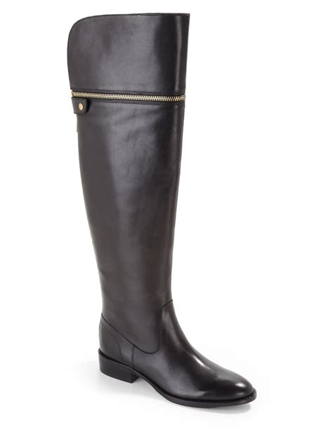 saks fifth avenue black label ash leather boots in