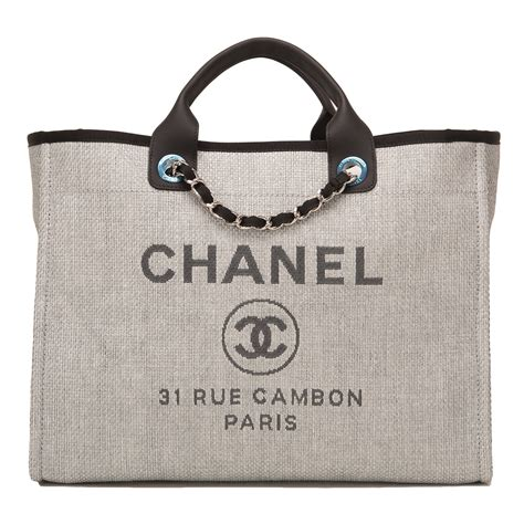 Chanel Deaville Shopping Tote Bag Vl971 chanel grey canvas large deauville shopping tote world s