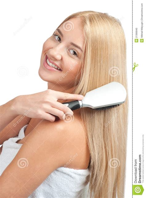 long hared crossdresser brushing woman brushing her long hair stock photo image 21366840