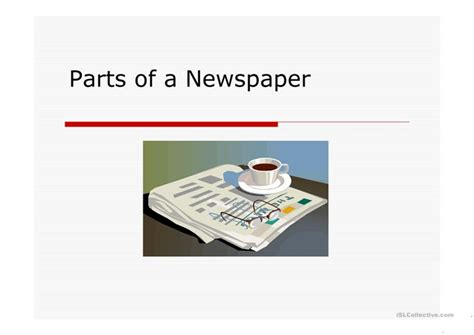 sections of the newspaper parts of the newspaper worksheet free esl projectable