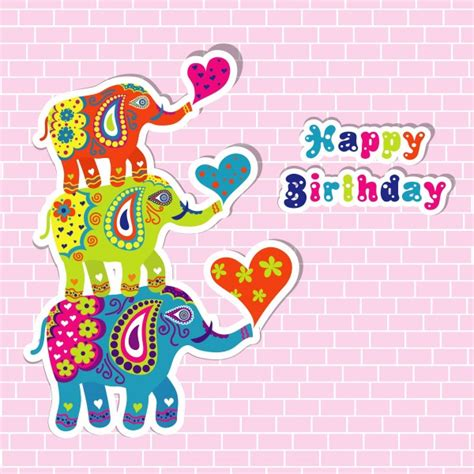 Elephant Birthday Card Template by Happy Birthday Wishes With Elephants
