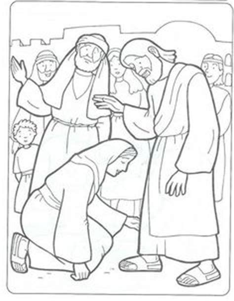 coloring page jesus heals bleeding bible class handwork on bible coloring pages