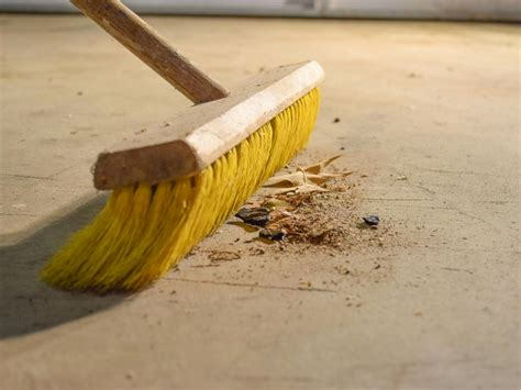 Sweep Floor by How To Paint A Garage Floor With Epoxy How Tos Diy