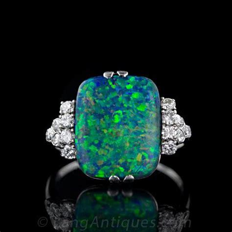 vintage black opal amp diamond ring