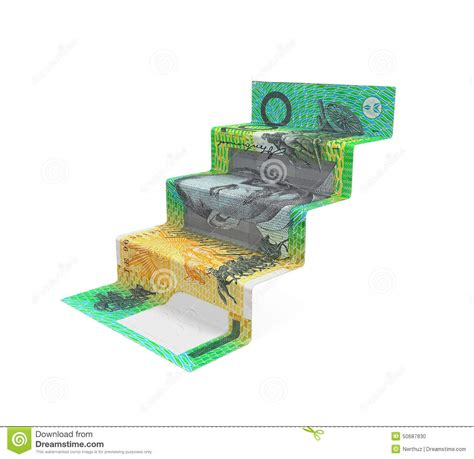 Australian Money Origami - australian dollar staircase origami stock illustration