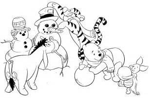 Pooh and his friends making a snowman if you like this coloring page