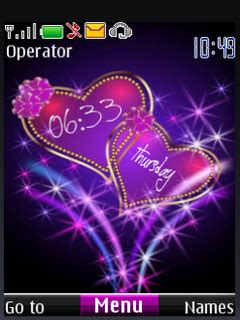 nokia themes love clock download love heart digital clock s40 theme nokia theme