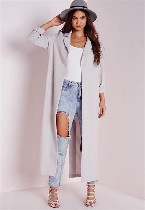 Jaket Grey Style Longsleeve sleeve maxi duster jacket grey missguided