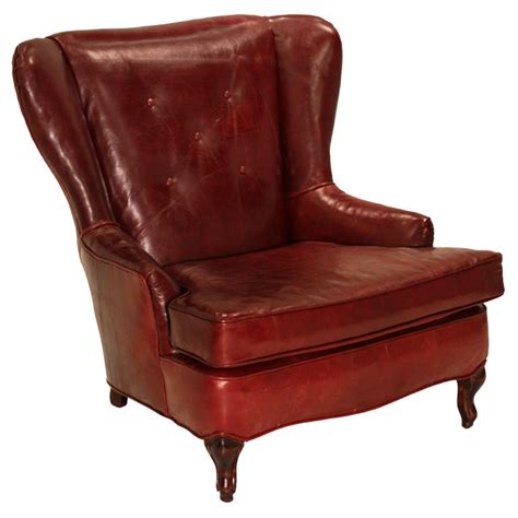 wing back recliner chairs obtuse oxblood leather and walnut wing back chair at 1stdibs