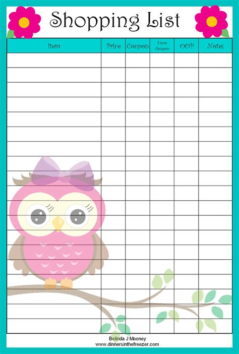 printable grocery list for coupons adorable owl coupon shopping list printable freebie