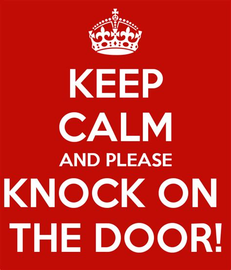 keep calm and knock on the door poster