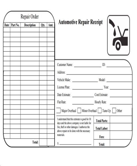 auto repair receipt template repair receipt eliminate your fears and doubts about