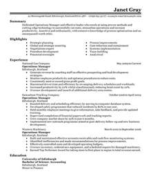 operations manager resume exle management sle