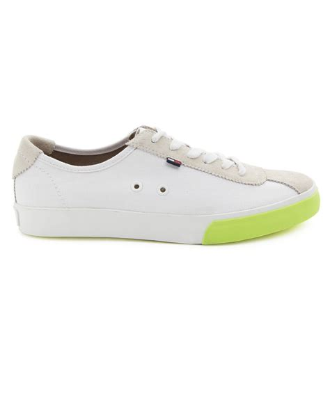 white hilfiger shoes hilfiger stan white canvas and suede sneakers in