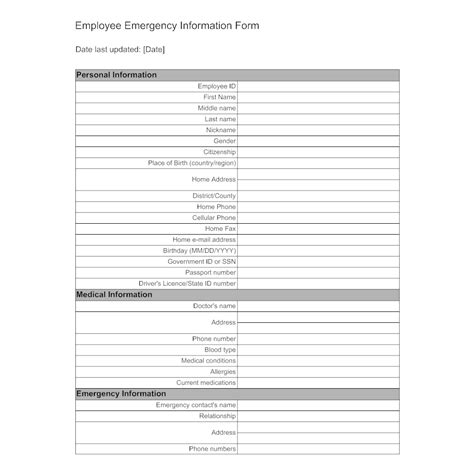 Employee Emergency Information Form Emergency Contact Form Template For Employees
