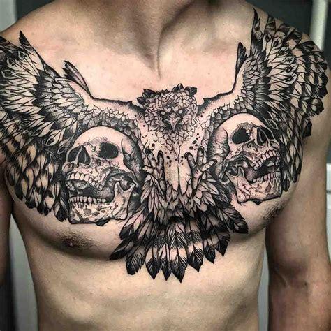 bird skull tattoo two skulls and bird chest skull designs