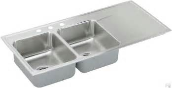 Stainless Steel Kitchen Sinks With Drainboards Elkay Ilr4822l 48 Quot Drop In Bowl Stainless Steel Sink With 18 7 1 2 Quot Bowl Depth And