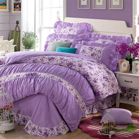 yadidi  cotton girls princess purple bedding sets bedroom bed duvet cover twin full queen