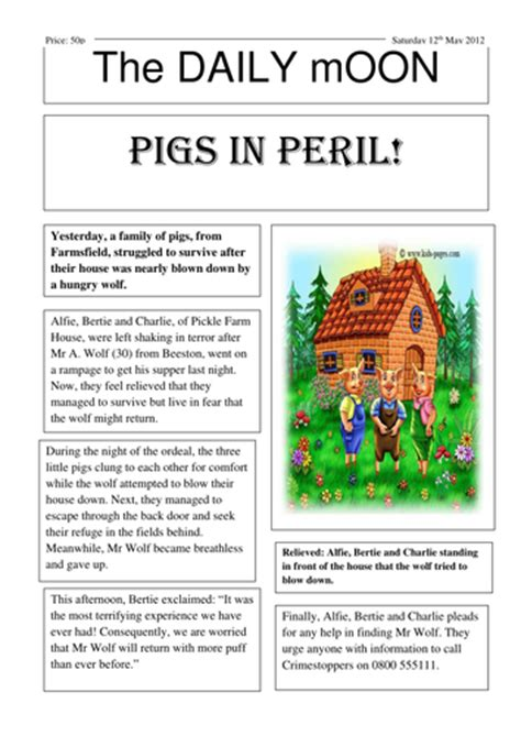 news report template ks2 three pigs newspaper report by 1dahab teaching