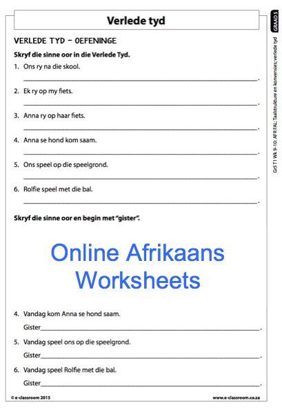 grade 5 afrikaans worksheets verlede tyd for more