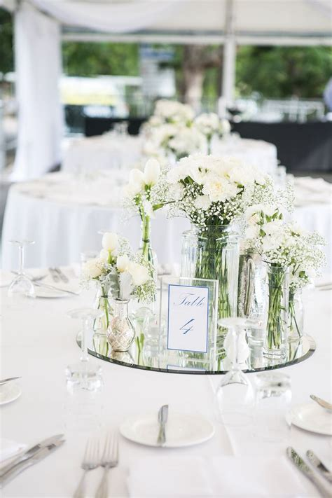 White Table Settings White Wedding Table Flowers Mirror Base White Table Setting Brisbane Marquee Wedding