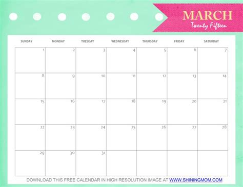 pretty calendar template free printable march 2015 calendar and pretty