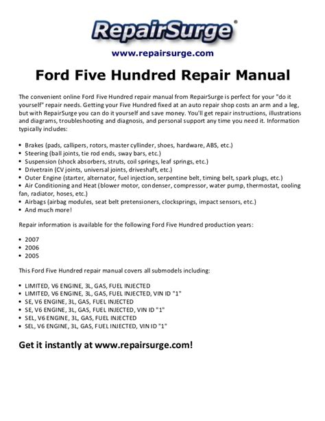 car manuals free online 2005 ford five hundred instrument cluster ford five hundred repair manual 2005 2007