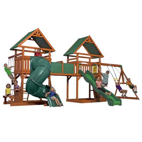 bjs wooden swing sets backyard discovery grand towers all cedar swing set bj s