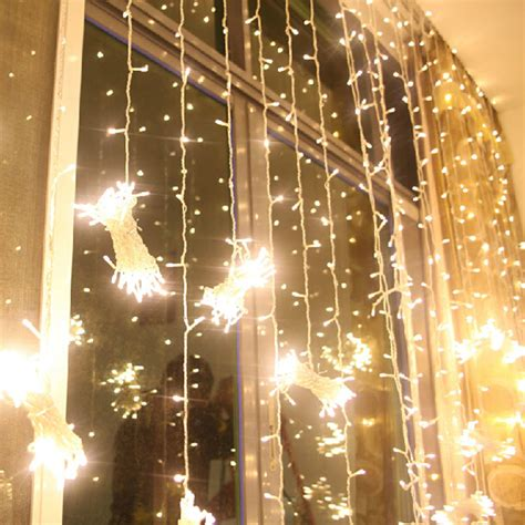 lighted christmas curtain panels 3x3m warm white 300 led net curtain string fairy lights