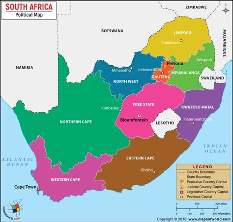 Political Map of South Africa with Provinces and Capitals