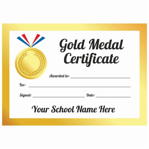 Sports Day Gold Medal Certificates   School Stickers