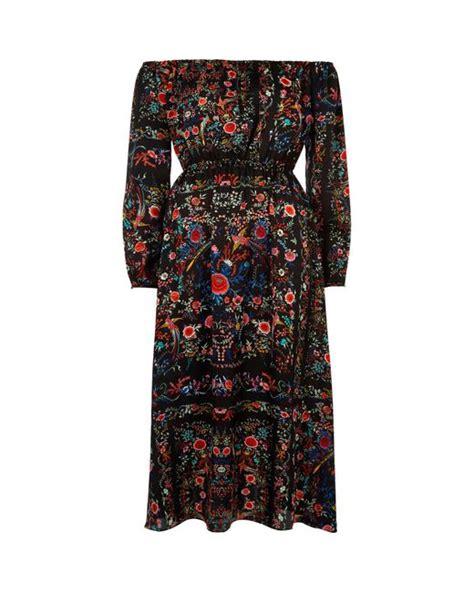 river island black floral print bardot maxi dress in black