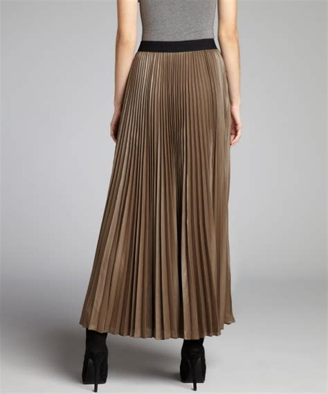 bcbgmaxazria sandstone sheen accordion pleated maxi skirt