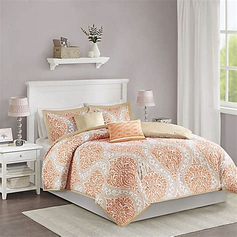 orange reversible comforter senna reversible comforter set in orange bed bath beyond