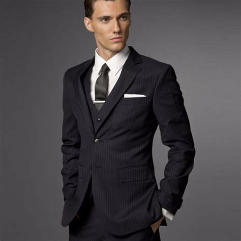 Promo Sale Blazer Navy Jas Semi Formal Pria Cowok Slimfit groom suit wedding suits for 2017 mens striped suit wedding groom tuxedo tailored 3