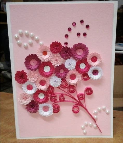 Best Designs For Handmade Greeting Cards - monochrome quilled bouquet card shopping