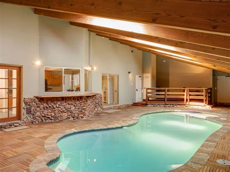 indoor pool and spa at beautiful lakeside vrbo