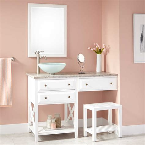 Bathroom Makeup Vanity 48 Quot Glympton Vessel Sink Vanity With Makeup Area White Bathroom Vanities Bathroom