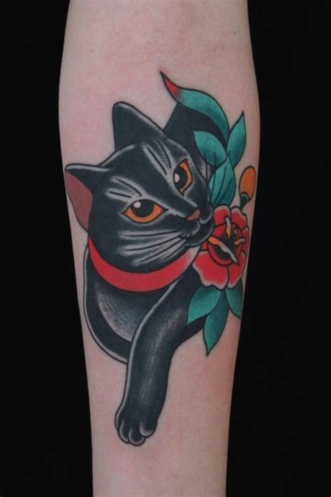 Old School Black Cat With Red Flowers Tattoo School Cat Tattoos