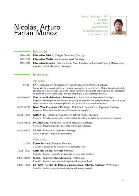 Modelo Cv Chileno Curriculum Nicol 225 S Farf 225 N