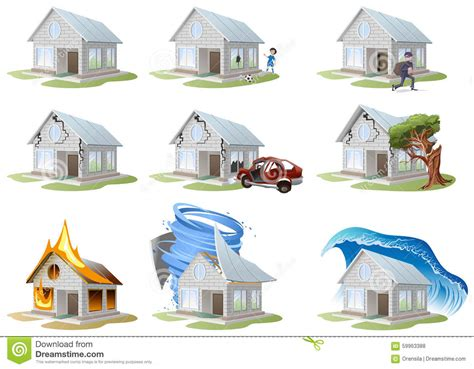 house home insurance home insurance property insurance big set house insurance stock vector image 59963388