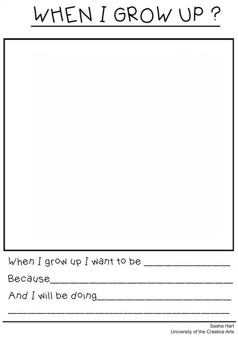 When I Grow Up Worksheet by Want To Be When I Grow Up Free Printable More Memes