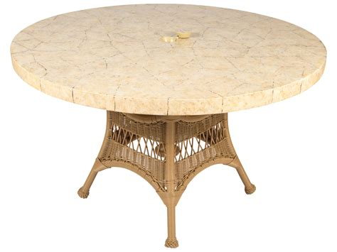 White Wicker Patio Table   Features, Rockport 48 In Patio